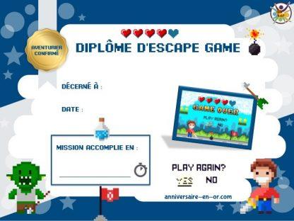 Diplôme escape game enfant thème jeu vidéo
