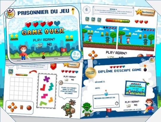 Kit escape game pour organiser un anniversaire enfant, thème jeu vidéo