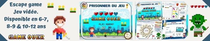 escape game enfant thème jeu vidéo