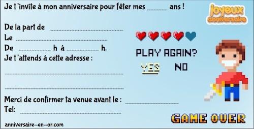 Invitation anniversaire thème jeu vidéo