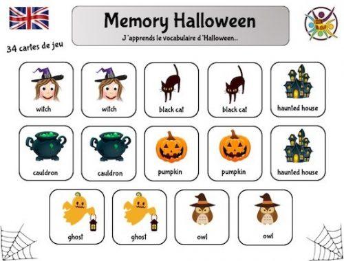 Jeu de memory sur le thème Halloween pour apprendre le vocabulaire