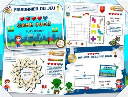 Kit de jeu d'évasion ou escape game sur le thème des jeux vidéo