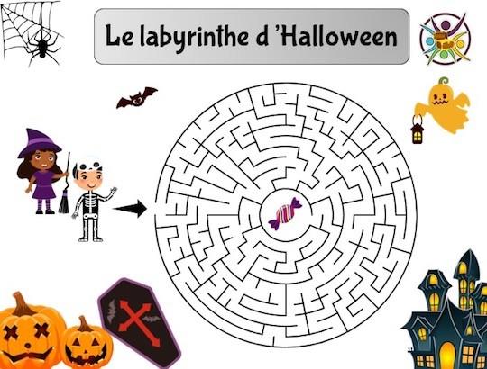 Labyrinthe Halloween à imprimer pour enfant