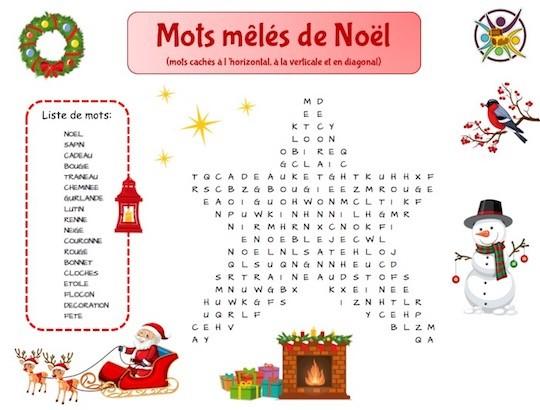 Mots-mêlés de Noël: jeu enfant à imprimer