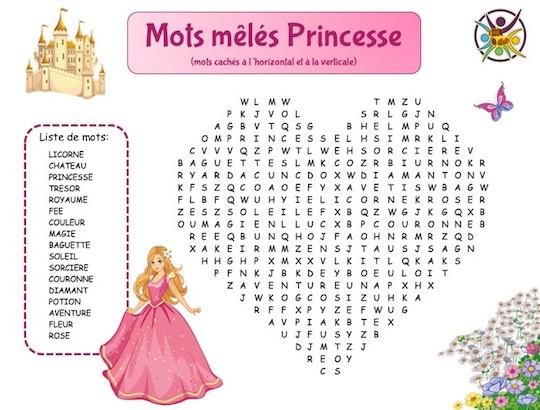 Mots mêlés princesse: jeu gratuit à imprimer pour enfant