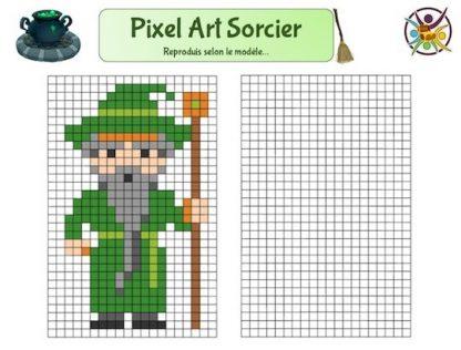 Pixel art sorcier à imprimer