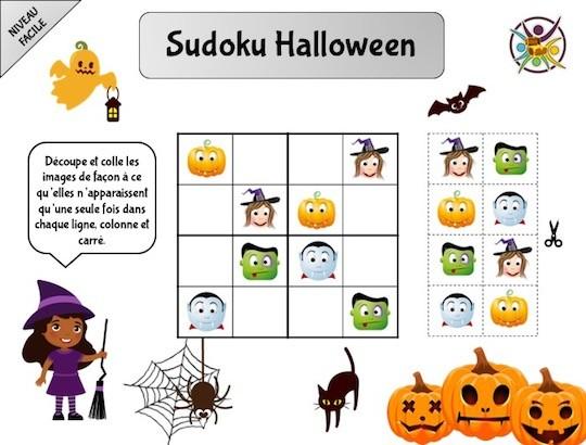 Sudoku pour enfant à imprimer thème Halloween