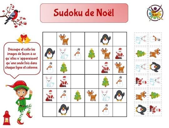 Sudoku de Noël pour enfants : jeu à imprimer