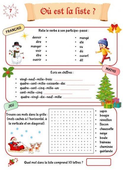 Cahier de jeux à imprimer Noël