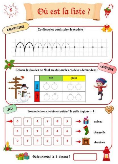 Jeux et exercices de Noël pour enfants de maternelle