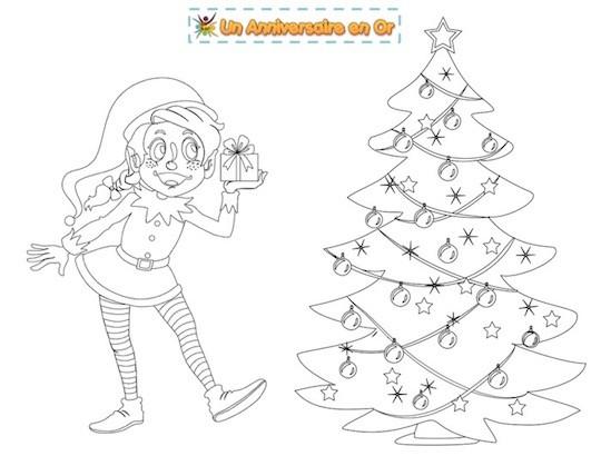 Coloriage de Noël: lutin et sapin
