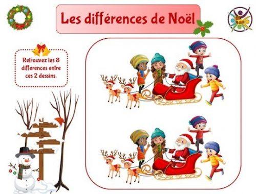 Jeu des différences de Noël: jeu gratuit enfant à imprimer