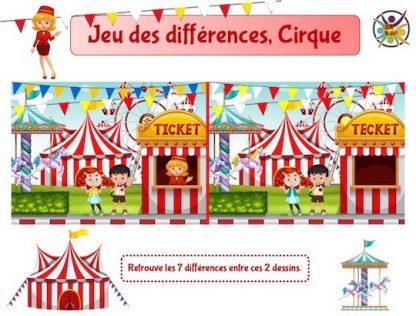 Jeu des différences, thème cirque