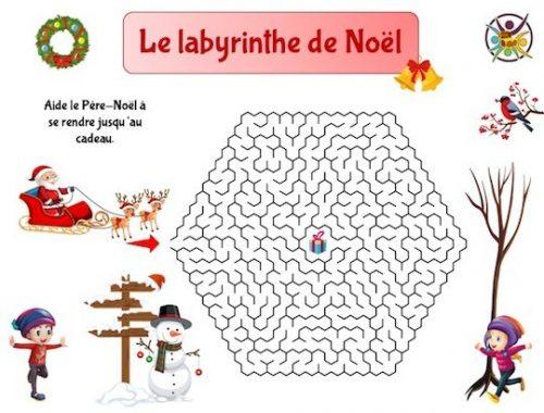 labyrinthe de Noël à imprimer pour enfant