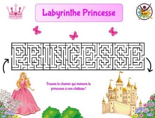 Jeu de labyrinthe à imprimer thème princesse