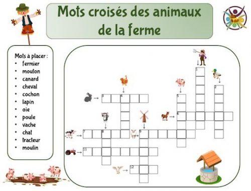 Mots croisés pour enfant des animaux de la ferme
