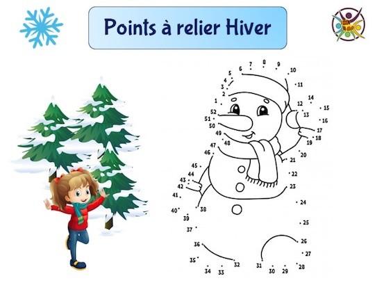 Points à relier hiver : bonhomme de neige
