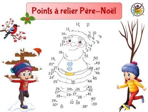 Points à relier Noël: relie les points pour dessiner le Père-Noël