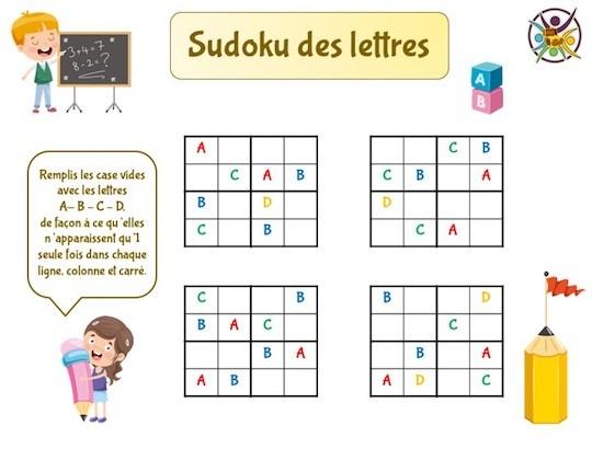 sudoku des lettres à imprimer pour enfant
