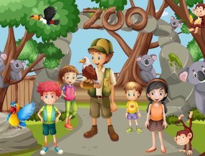chasse au trésor au zoo pour enfant
