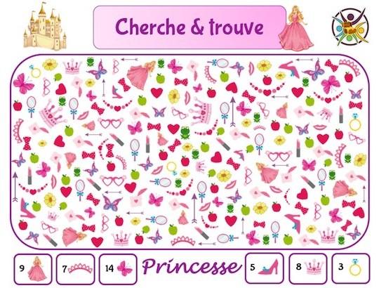 Cherche et trouve princesse : jeu d'observation