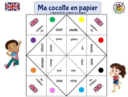 cocotte en papier pour apprendre les couleurs en anglais