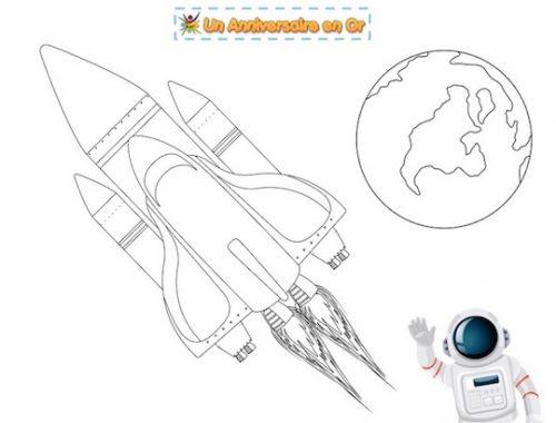 Coloriage fusée, thème espace