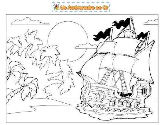 coloriage île pirate