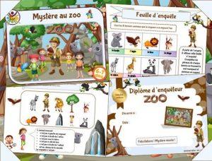 Jeu enfant à imprimer d'enquête au zoo