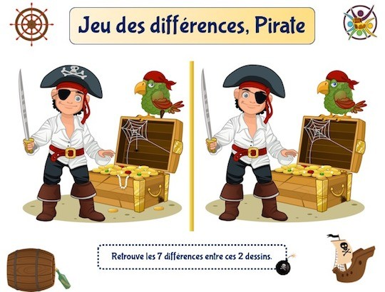Jeu des différences le trésor des pirates