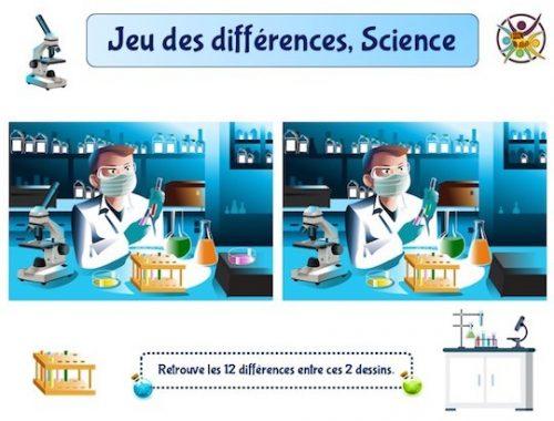 Jeu des différences, thème science, dans un laboratoire