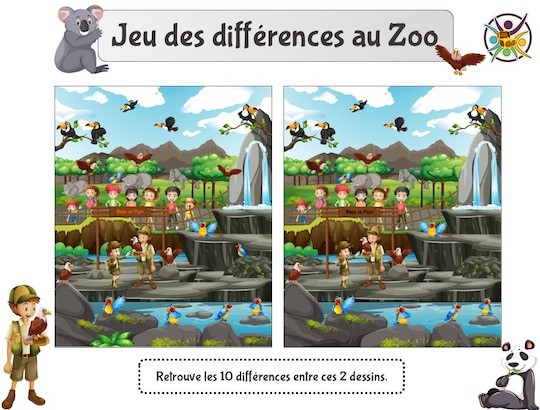 Jeu des différences au zoo