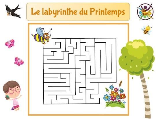 Le labyrinthe du printemps : jeu à imprimer enfant