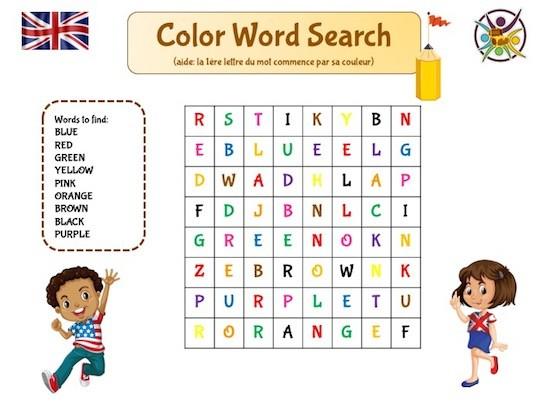mots mêlés pour apprendre les couleurs en anglais