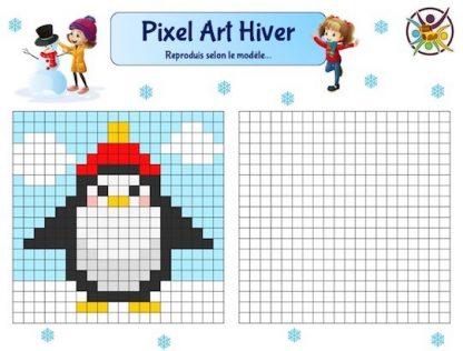 Pixel art Hiver à imprimer