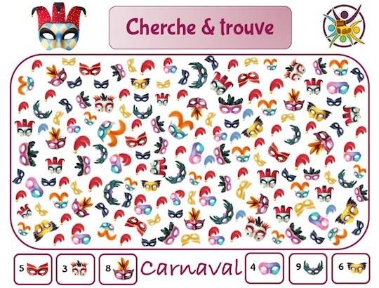 Cherche et trouve sur le thème du carnaval