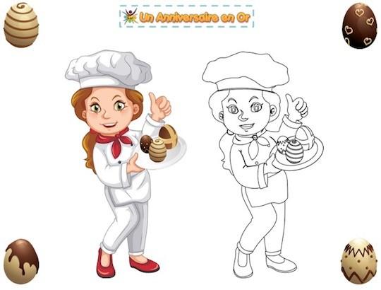 Coloriage de cuisinère et chocolat