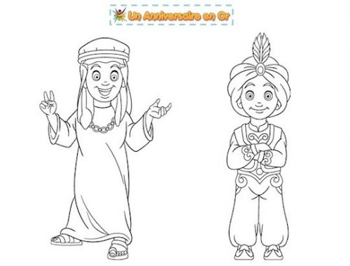 Coloriage enfants du Moyen Orient