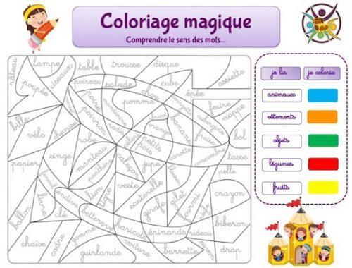 Coloriage magique pour aider à l'apprentissage de la lecture