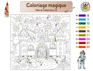 Coloriage magique sur la multiplication: table de 3