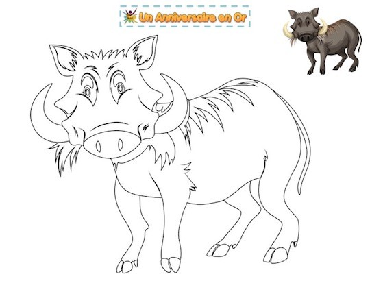 coloriage phacochère, Pumbaa, Roi Lion, Disney