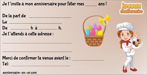 Invitation enfant thème Pâques