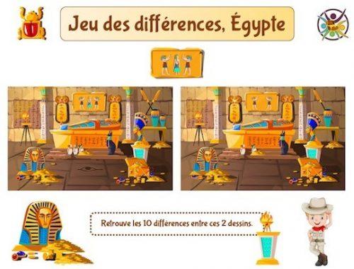Jeu des différences sur le thème de l'Égypte