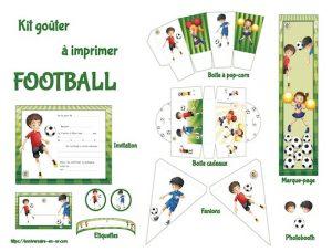 Kit de décoration pour anniversaire à imprimer sur le thème du football