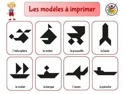 Modèles de tangram à imprimer sur les moyens de transport