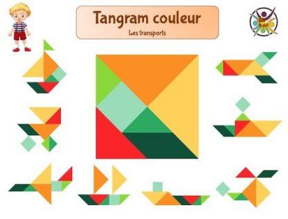 tangram du transport en couleur