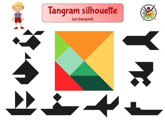 Tangram sur les moyens de transport en noir et blanc