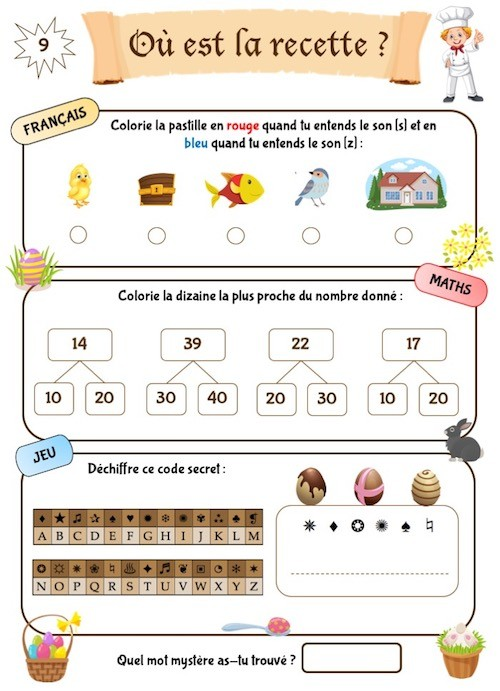 Cahier d'activités éducatif pour enfants de CP , thème Pâques