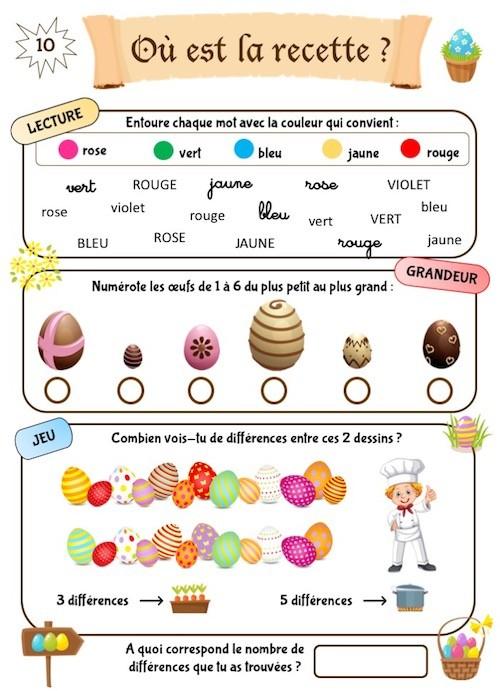 Cahier d'activités de Pâques, maternelle