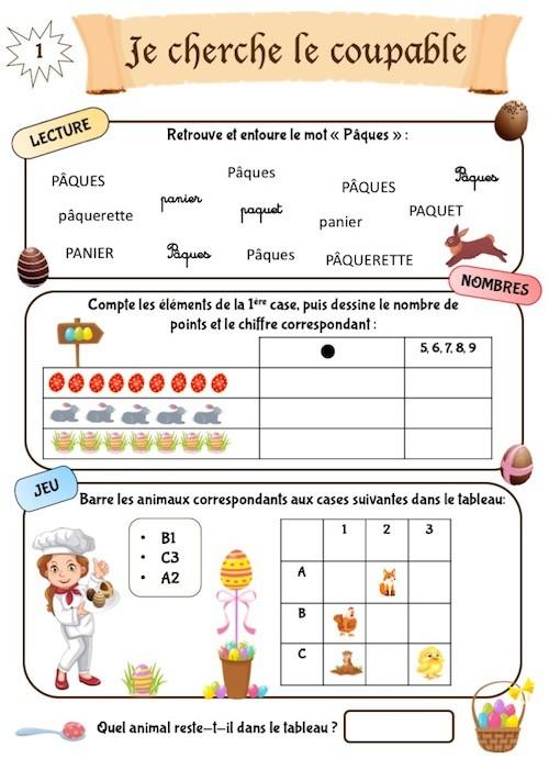 Cahier d'apprentissage de Pâques, section maternelle